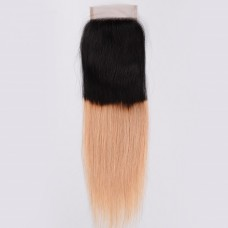 10A Best Quality Drop Shipping High quality Brazilian Human Hair 1b 27 color Ombre 4*4 Lace Closure
