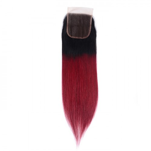 10A Best Quality Drop Shipping High quality Brazilian Human Hair 1b 99j Ombre 4*4 Lace Closure