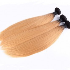Best 1B/27 color straight wave New style 100% Brazilian human hair bundles  with top lace closure