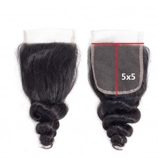 5x5 Loose wave lace closure hot selling raw hair closure