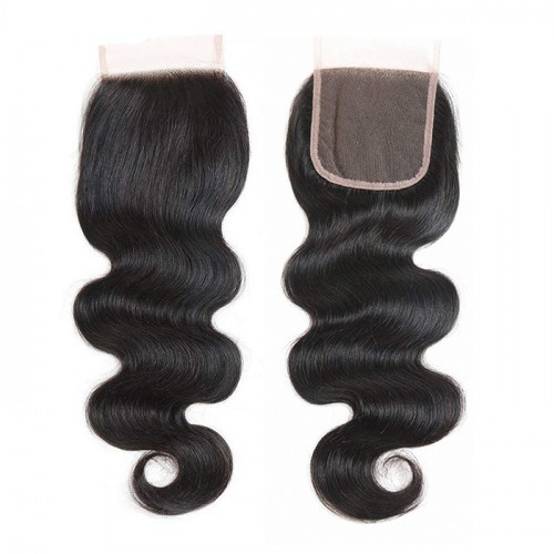 Top quality 100% human  hair lace closure wholesale price