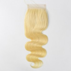 4x4 5x5 6x6  blonde color body wave lace closure Top quality 100% human hair
