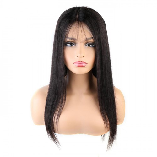 Wholesale Unprocessed Brazilian Straight  Wave Human Hair Full Lace Wig