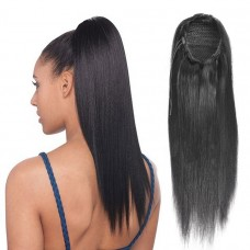 Best quality human raw hair drawstring ponytail